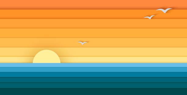słońce i morze z papieru, nowoczesny sztandar do projektowania - zachód słońca stock illustrations