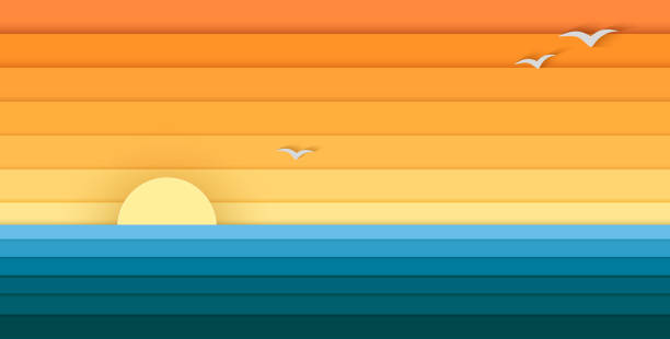 Sun and Sea from Paper, Modern Banner For Design Sun and Sea from Paper, Modern Banner For Design, vector sunrise stock illustrations
