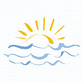 Sun and sea  icon. Handmade grunge icon isolated on white background. Sunrise over the sea. Editable vector illustration