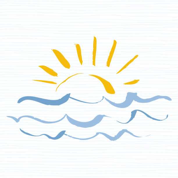 Sun and sea  icon. Handmade grunge icon isolated on white background. Sunrise over the sea. Editable vector illustration Travel  template sun with sea waves tide stock illustrations