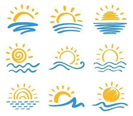 Sun and sea, icon set