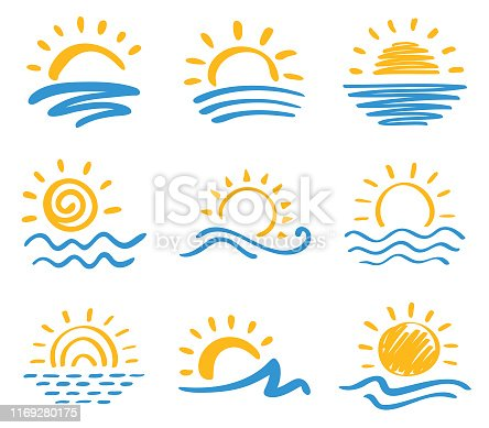 Vector icon set of sun and sea. Hand drawn design elements