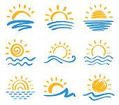 Vector icon set of sun and sea. Hand drawn design elements