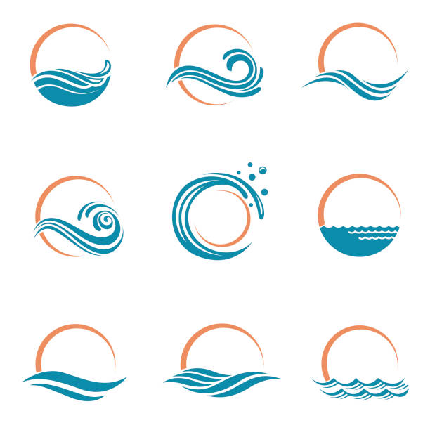 ikony słońca i morza - fala woda stock illustrations
