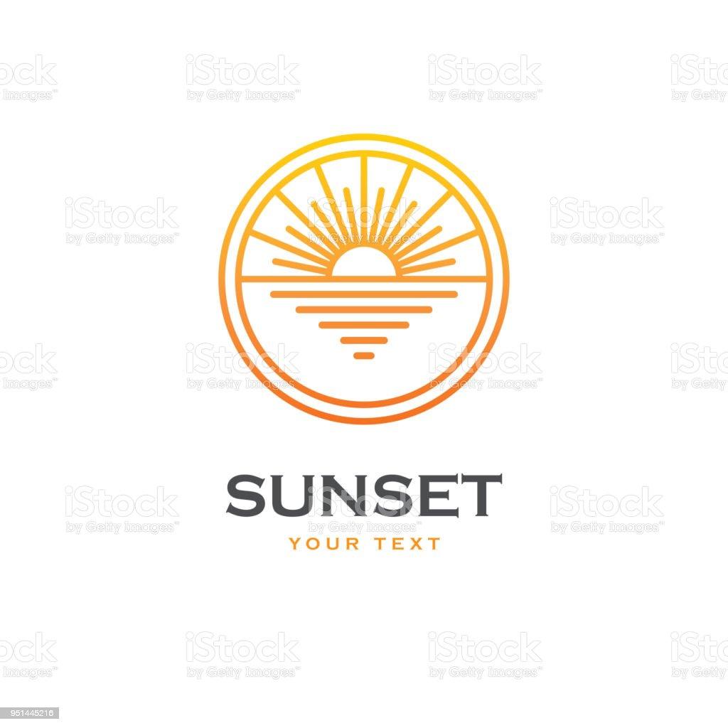 太陽と海の線形エンブレム。 ベクターアートイラスト