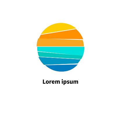 Sun and sea. Symbol of  journey. Round icon for travel agency