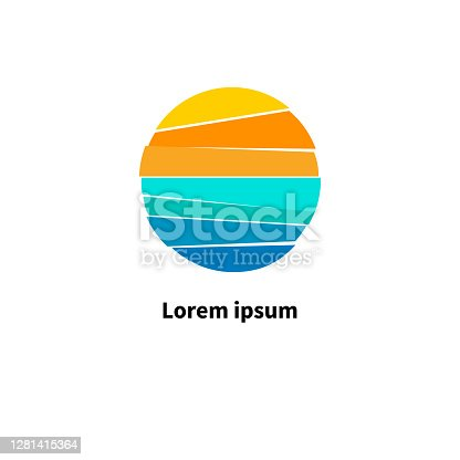 istock Sun and sea. Symbol of  journey. Round icon for travel agency 1281415364