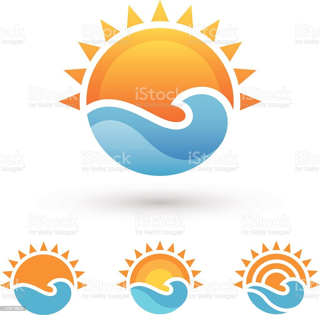 Sun and sea symbol vector art illustration