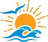 Sun and sea icon