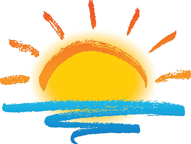 sun and sea - sunrise stock illustrations, clip art, cartoons, & icons