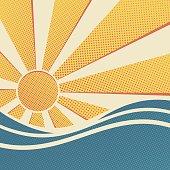 Sun and sea, summer retro poster. Vector illustration of pop art style.