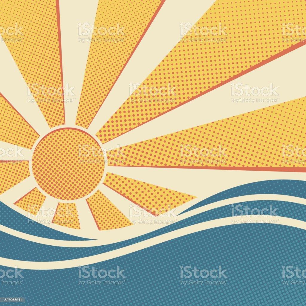 Sun and sea. vector art illustration