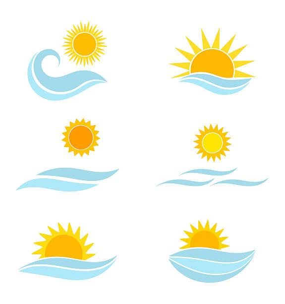 sun and sea waves icons - sunrise stock illustrations, clip art, cartoons, & icons