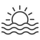 istock Sun and sea waves line icon, Sea cruise concept, sunset sign on white background, Sun and wave icon in outline style for mobile concept and web design. Vector graphics. 1281183537