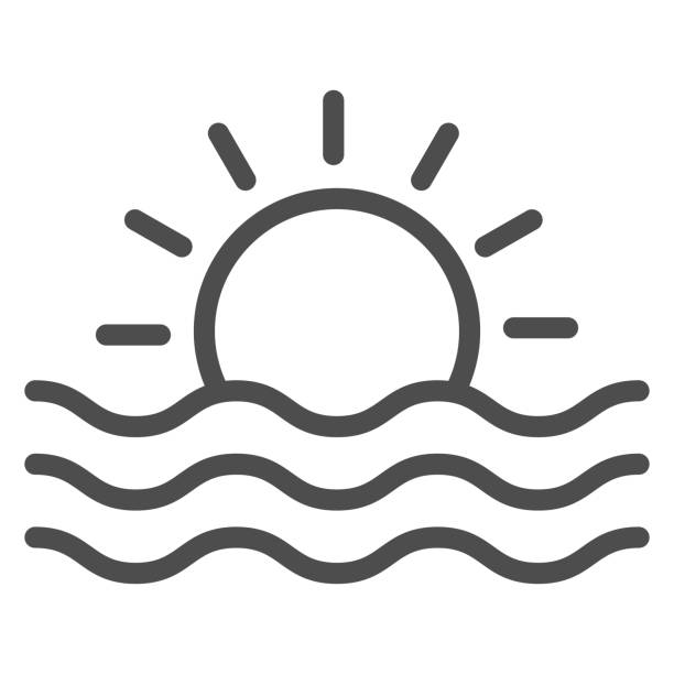 Sun and sea waves line icon, Sea cruise concept, sunset sign on white background, Sun and wave icon in outline style for mobile concept and web design. Vector graphics. Sun and sea waves line icon, Sea cruise concept, sunset sign on white background, Sun and wave icon in outline style for mobile concept and web design. Vector graphics holidays and seasonal background stock illustrations