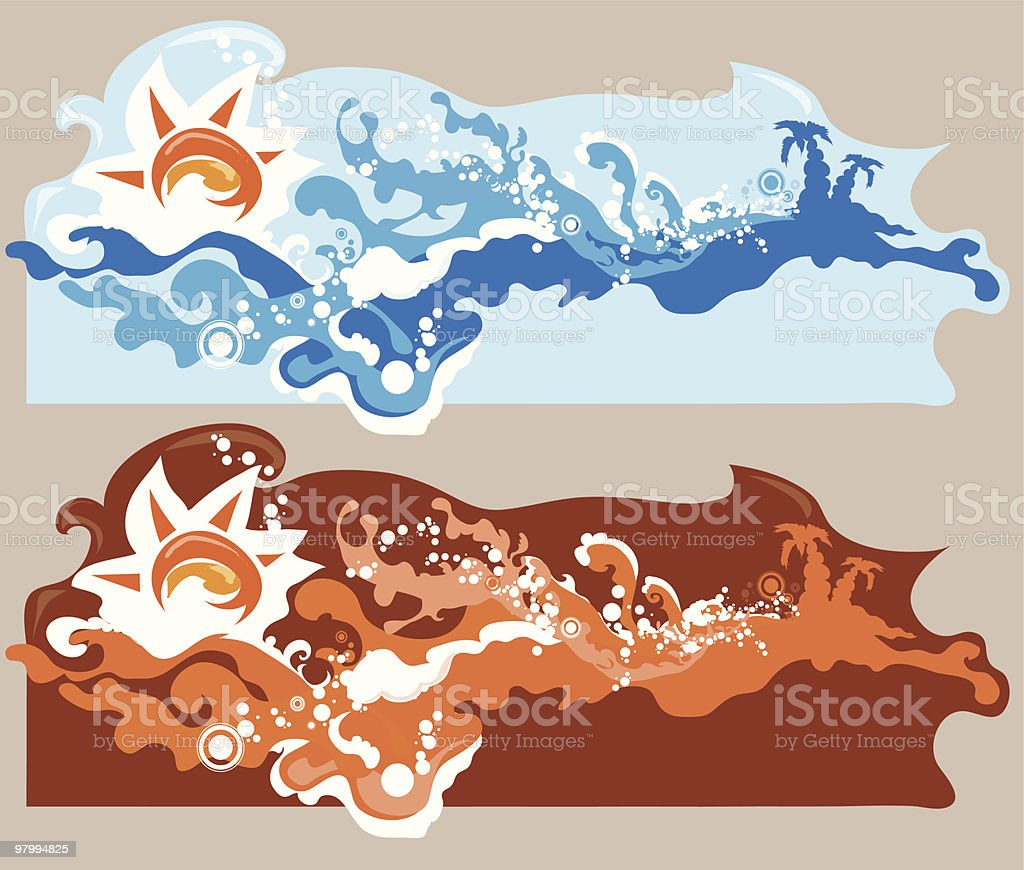 sun and sea waves royalty free sun and sea waves stockvectorkunst en meer beelden van beweging