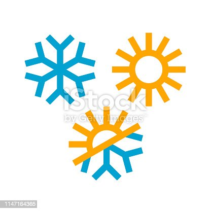 Sun and snowflake icons in trendy flat style. Winter, summer and demi season symbols isolated on white background. Vector Illustration