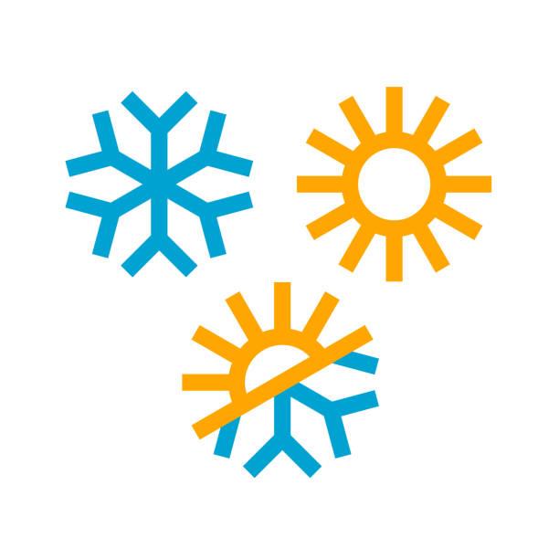 sonnen-und schneeflocken-ikone - wärme stock-grafiken, -clipart, -cartoons und -symbole
