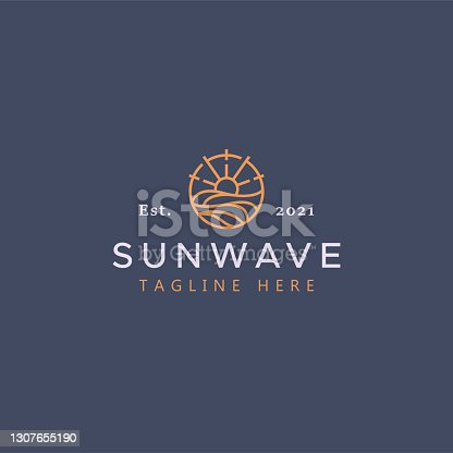 istock Sun and Wave Illustration Badge  . Creative Idea and Simple Vector Template Brand Identity. 1307655190