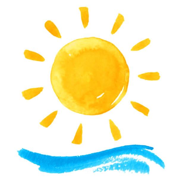 bildbanksillustrationer, clip art samt tecknat material och ikoner med sol och våg - sun