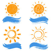 Vector illustration of sun and wave