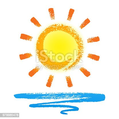 Vector illustration of sun and wave. EPS 10 file contains transparencies.