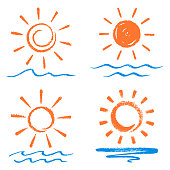 Vector set - Sun and waves