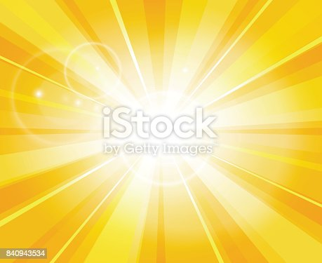 Sun beams pattern. Summer day bright light hot yellow vector illustration or power energy sunshine background