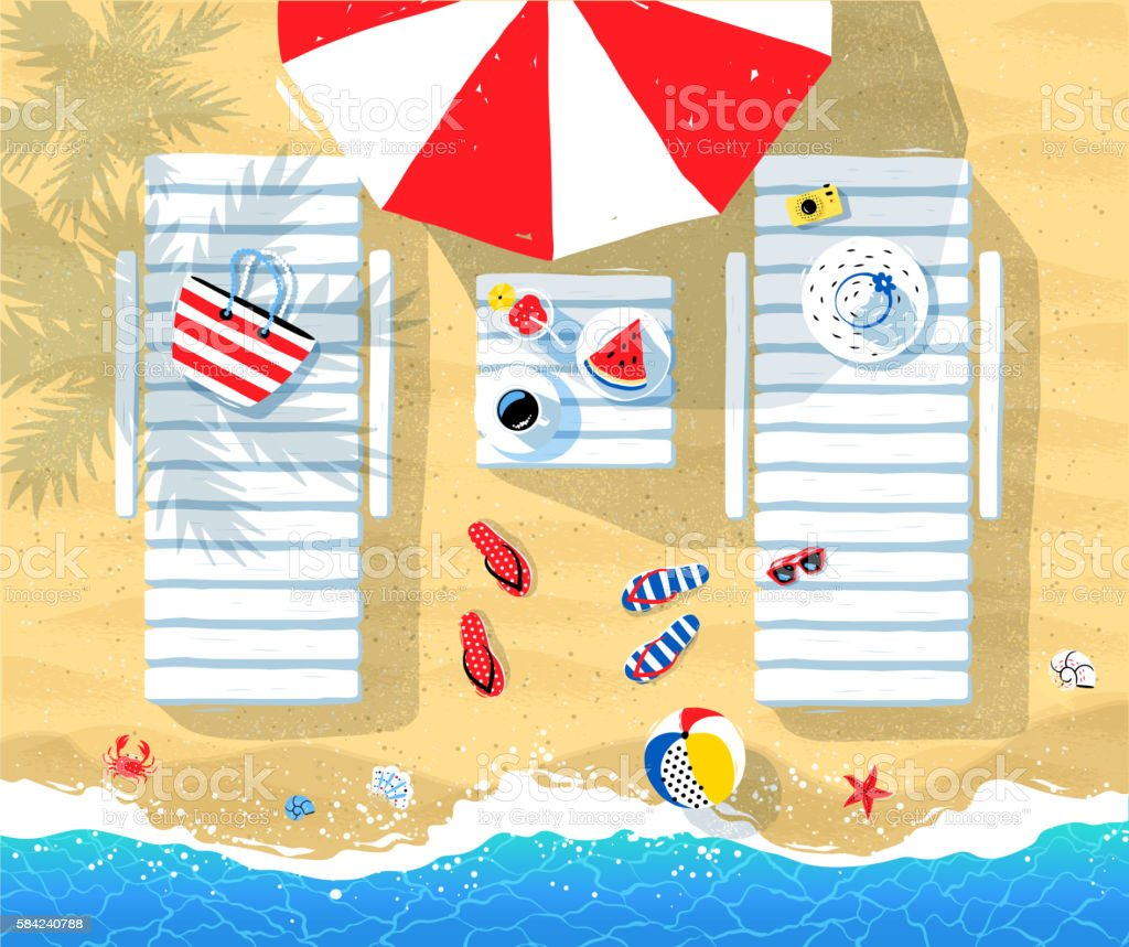 Sun beds and parasol on seaside ベクターアートイラスト