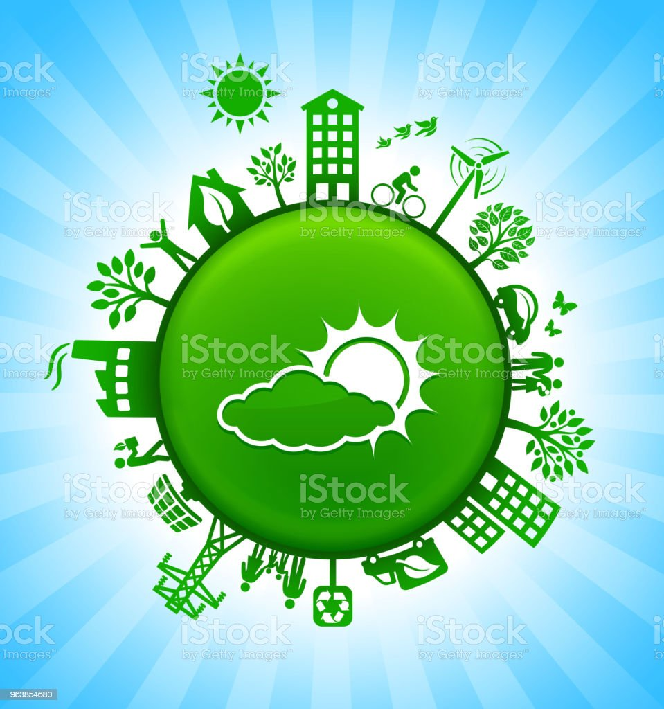 Sun Behind a Cloud Environment Green Button Background on Blue Sky - Royalty-free Alternative Energy stock vector