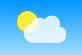 Sun behind a cloud on blue background