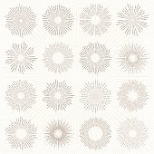 Set of sun burst line drawing illustrations.More works like this linked below.http://www.myimagelinks.com/Lightboxes/design_elements_files/shapeimage_2.png