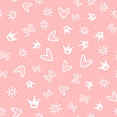 Sun, butterflies, hearts and crowns drawn by hand. Cute girly seamless pattern. Sketch, doodle. White outlines on pink background.