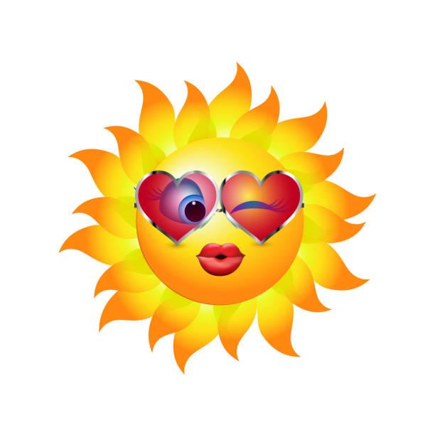 sonne cartoon kuss mit herzförmigen trend sonnenbrillen. emoticon küssen und zwinkert. vektor-3d illustration - extravagant schutzbrille stock-grafiken, -clipart, -cartoons und -symbole