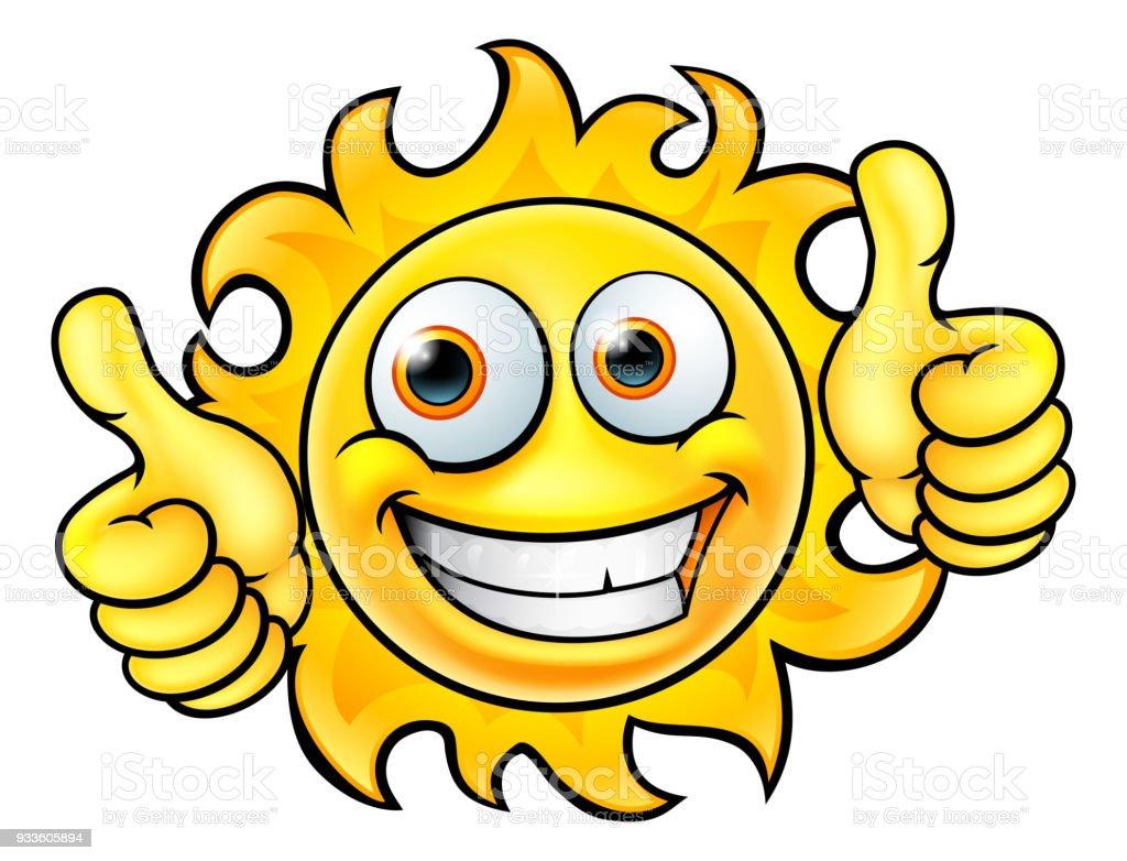 Sun Cartoon Mascot vector art illustration