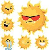 Cartoon sun including: