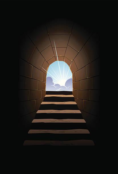 bildbanksillustrationer, clip art samt tecknat material och ikoner med sun & cave stairs - ljus på grav