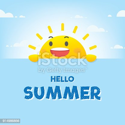 istock Sun character summer heading design for banner or poster. Vector illustration. 914986856