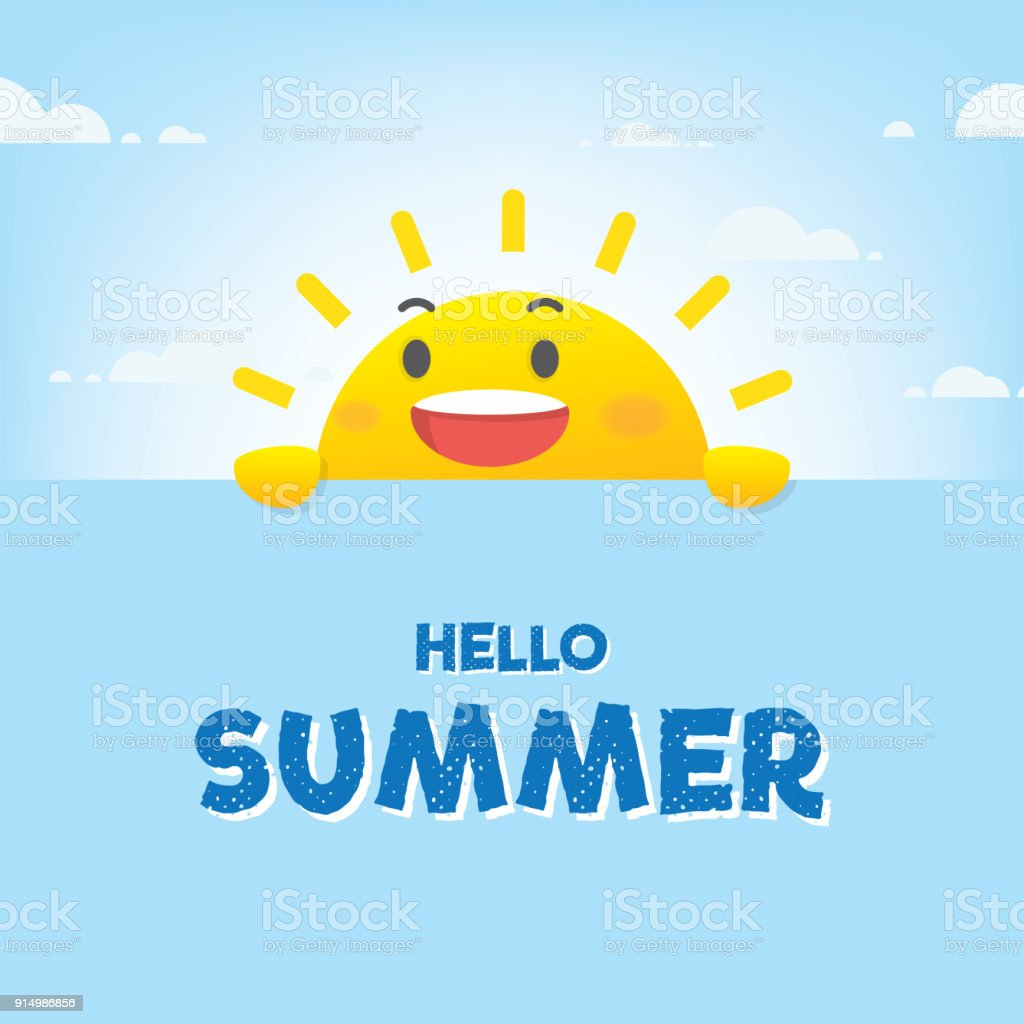 Sun character summer heading design for banner or poster. Vector illustration. vector art illustration