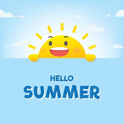 Sun Character Summer Heading Design For Banner Or Poster Vector Illustration - Immagini vettoriali stock e altre immagini di Ambiente