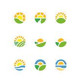 Vector illustration of landscape sun logotypes.