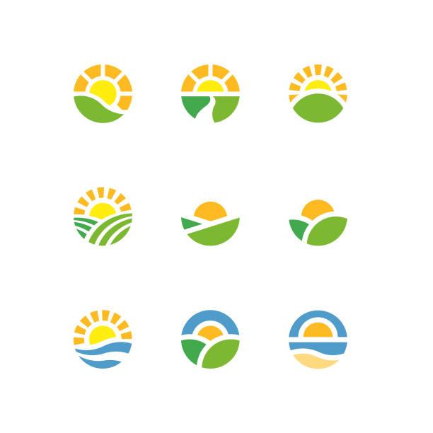 sun circle landscape logotypes - sunrise stock illustrations