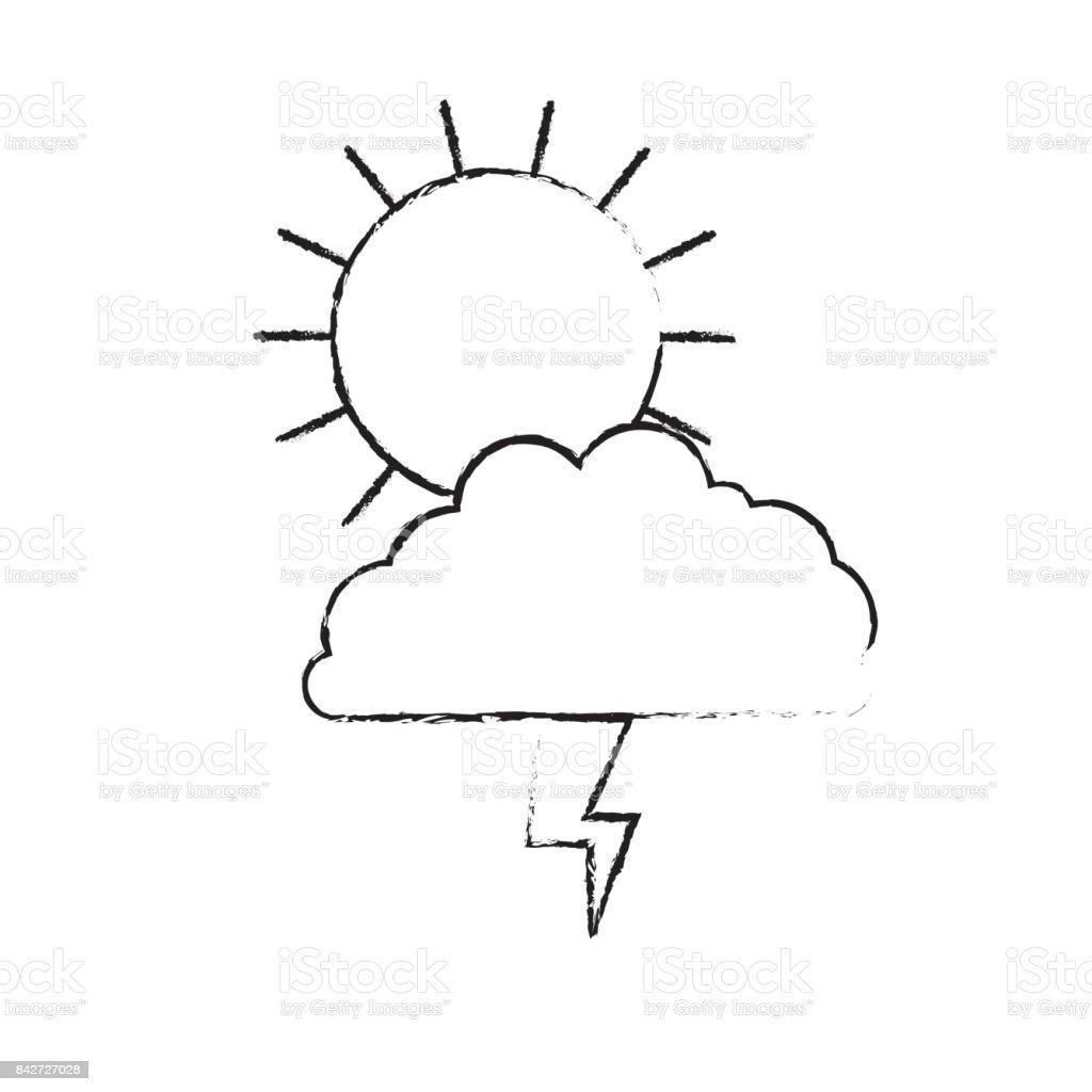 Gunes Bulut Ve Yildirim Tek Renkli Siluet Bulanik Stok Vektor