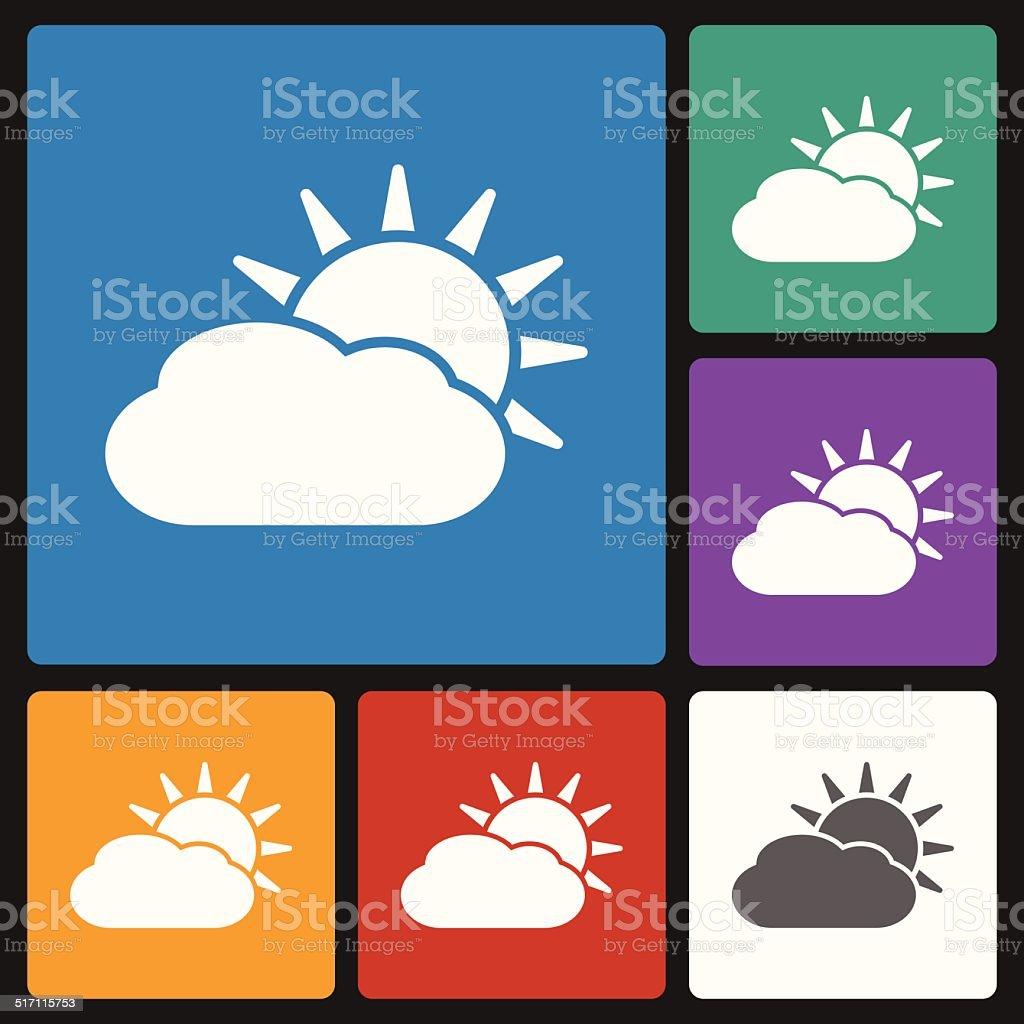 sun cloud icon vector art illustration