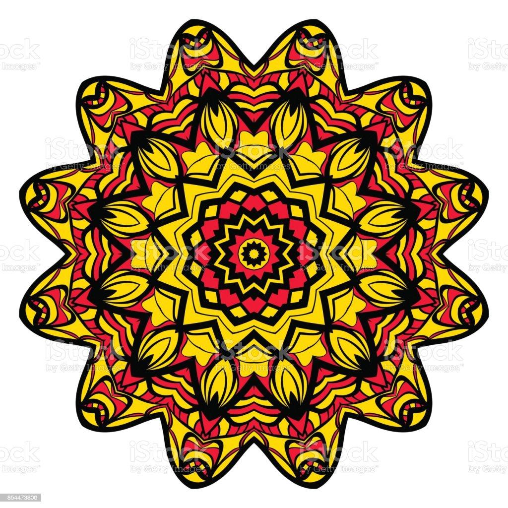 Sun Color Flower Mandala Energy Symbol Vector Illustration For Greeting Card Invitation