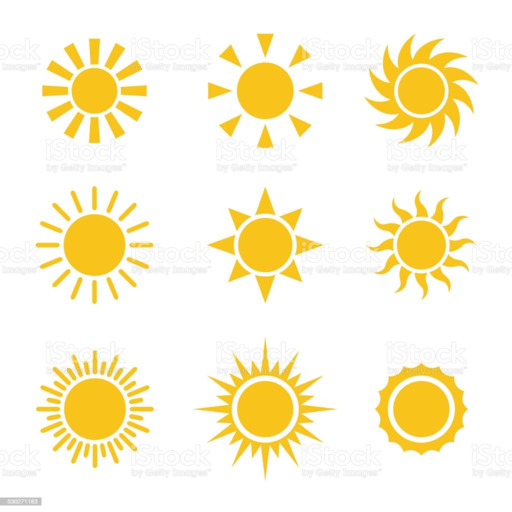 Sun Color Icons Set vector art illustration