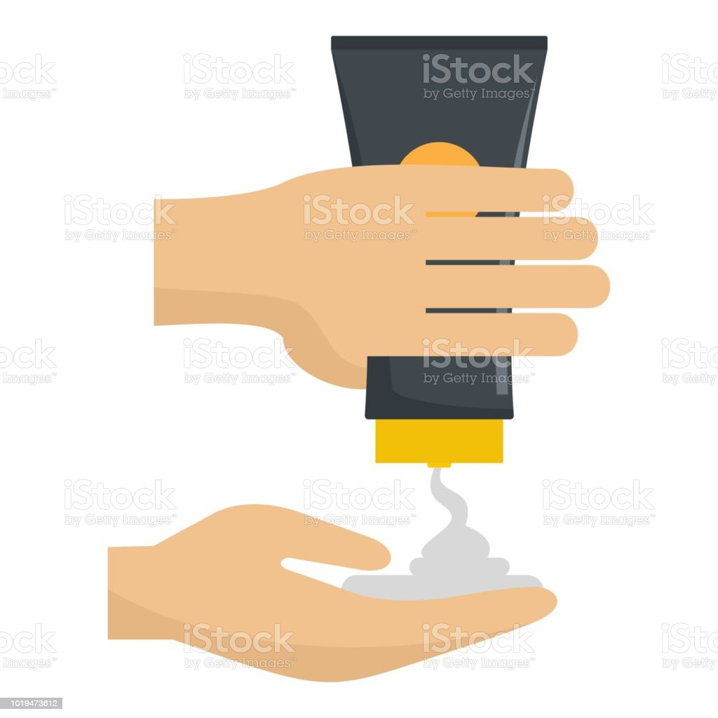 Sun cream in hand icon, flat style vector art illustration