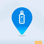 Sun Cream in Spray vector pin map icon. Beach Map pointer. Summer Map markers. Holiday. Summertime. Vacation, eps 10