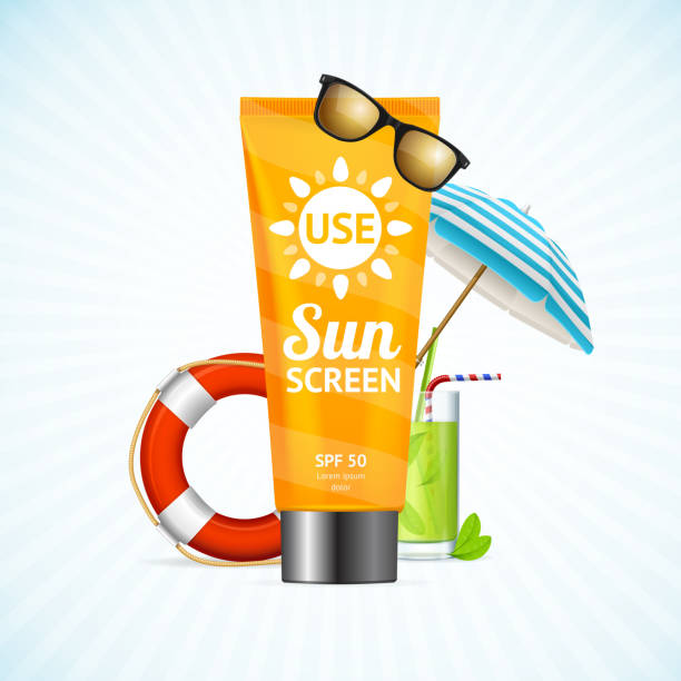 ilustrações de stock, clip art, desenhos animados e ícones de sun cream summer travel concept. vector - protetor solar