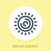 Curved Style Line Vector Icon for Solar Energy.